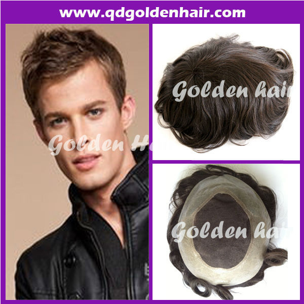 High Quality Grey With White Toupee For Male(China (Mainland))