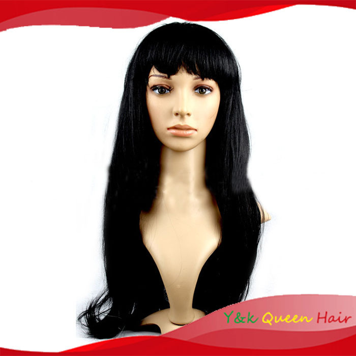 COSPLAY anime neat bangs hair wig Halloween / party supplies long hair wigs free shipping black color(China (Mainland))
