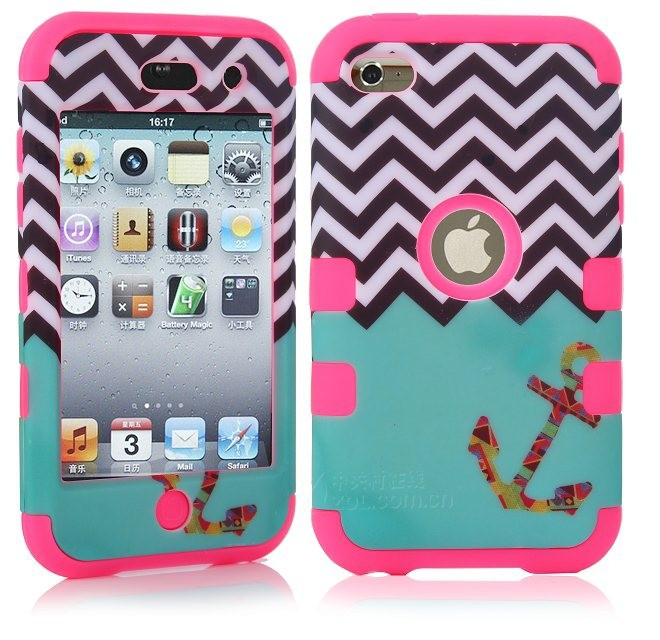 For Apple iPod Touch 4 4G Touch4 Defendered Hybrid 3 in 1 Hard Soft Rubber Wave & Anchor Teal Hybrid Case Cove+Screen Protector(China (Mainland))