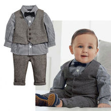 New 2015 Spring Autumn Fashion Baby Boy Clothes Gentleman Suit Long Sleeve Stitching plaid vest and tie T-shirt + Pants Clothing(China (Mainland))