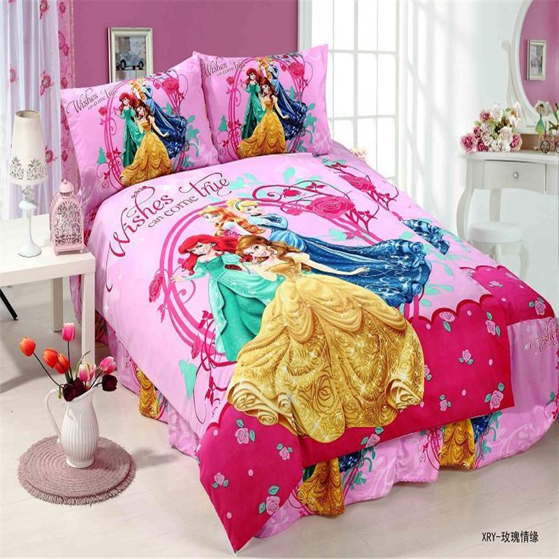 Fairy snow princess girls bedding set 2 3pcs duvet cover bed sheet pillow case twin single size - Twin size princess bed set ...