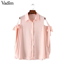 Buy Women sexy shoulder bow tie chiffon shirts long sleeve turn collar loose blouses female casual office wear tops LT1677 for $11.68 in AliExpress store