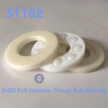 Free shipping 51102 ZrO2 full ceramic thrust ball bearing 8102 15x28x9mm no magnetic bearing(China (Mainland))