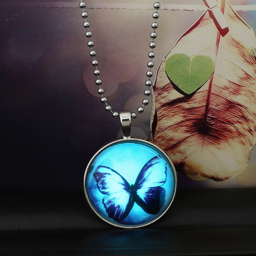 Glow in the dark Steampunk Necklace Butterfly Glowing Necklace Glass Jewelry Cabochon Magic Fire dust necklaces