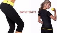 T-shirt + Pants / 2015 Hot New shaper women Neoprene T Shirts pants sweating shaper stretchy slimming suit(China (Mainland))