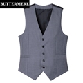 Men s Formal Suit Vest Grey Wedding Waistcoat Sleeveless Blazer Black Suit Gilet New Arrival Brand