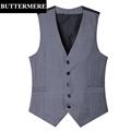 Men s Formal Suit Vest Grey Wedding Waistcoat Sleeveless Blazer Black Suit Gilet New Arrival Brand