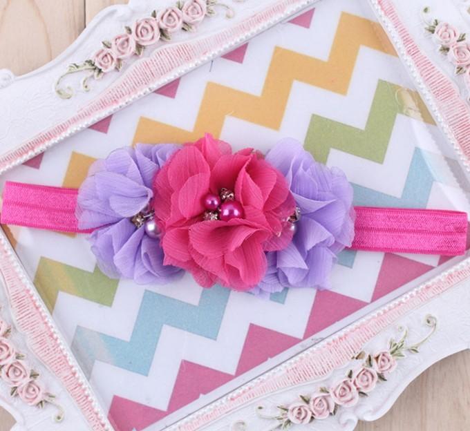 1PC Rhinestone Ribbon Pearl diamond Headwear Newborn Hairbands sewing Flowers Headband Kids Hair Accessories Jeaely W045
