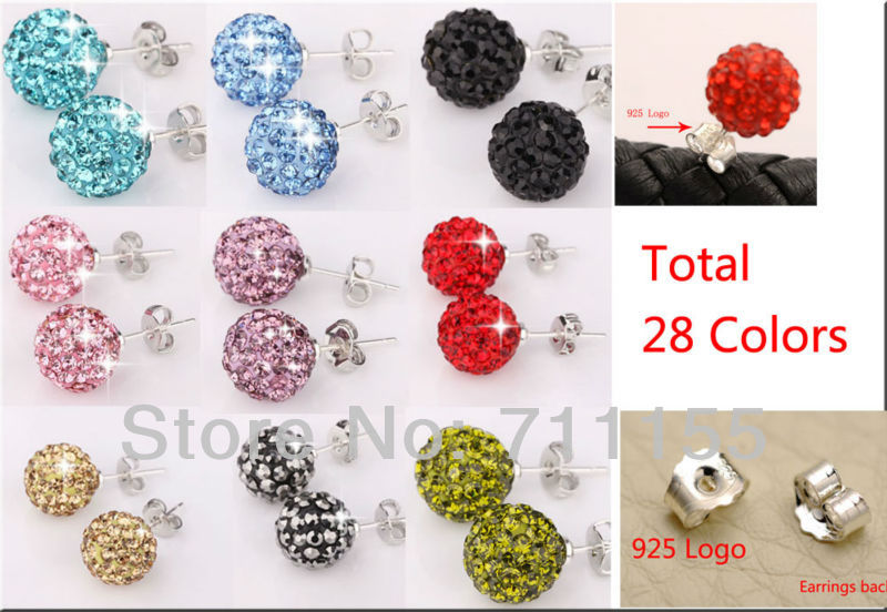 Good Quality !!Can mix 28 colors,10mm Disco Crystal Ball Shamballa Earrings Stud for Women Wedding Party Jewelry(China (Mainland))