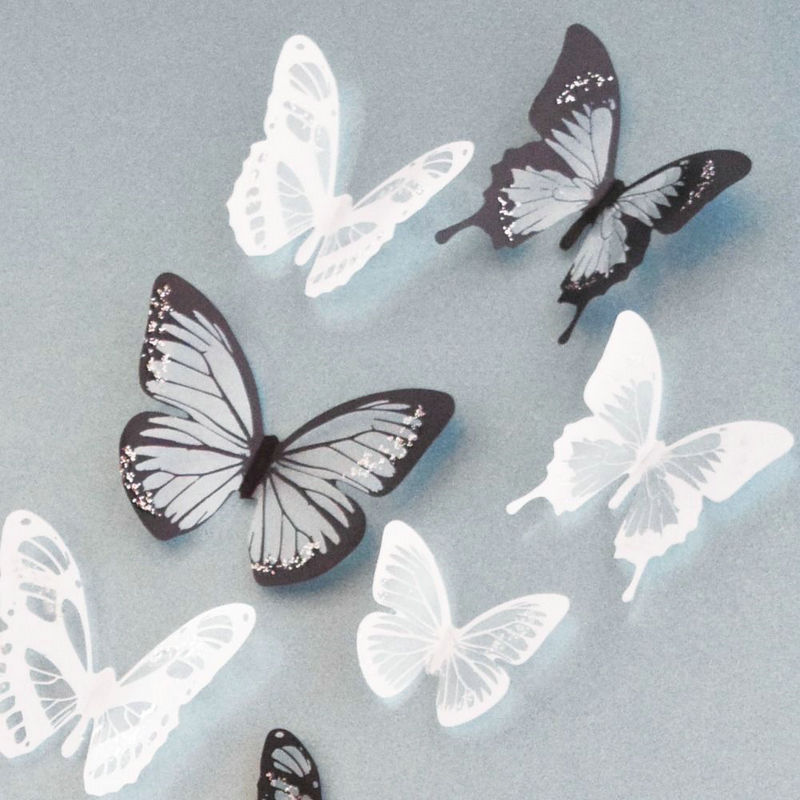 product 18pcs 3D Black/White Butterfly Crystal Decor Wall Stickers Decor Wall DIY GM448