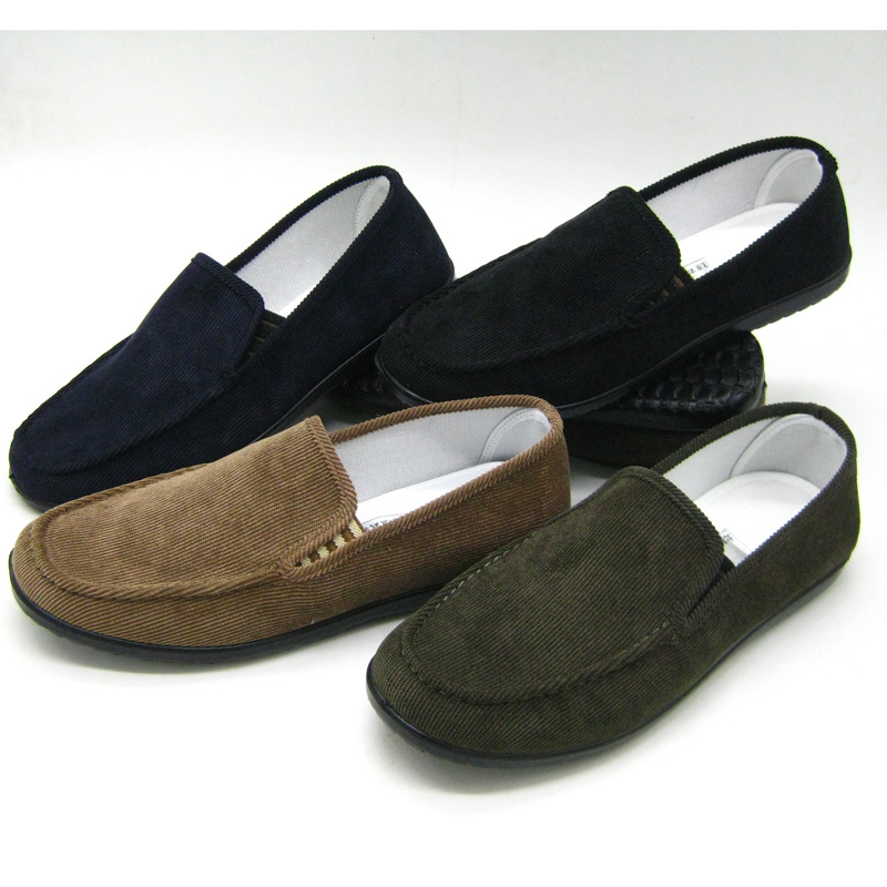 Men Flat Shoes Slip-On Men's Loafers Flats Cotton-Made Daily Wear 4Season Men Casual Shoes Black Beige Coffee Size 39-44(China (Mainland))