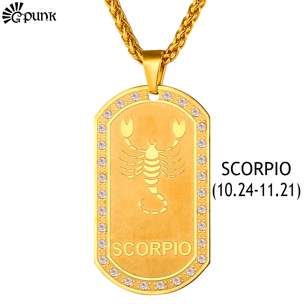 Gold Necklace Scorpio Zodiac Signs Dog Tag 12 Constellation Women Men Jewelry 18K Gold Plated With Crystal Rhinestone P1828G(China (Mainland))