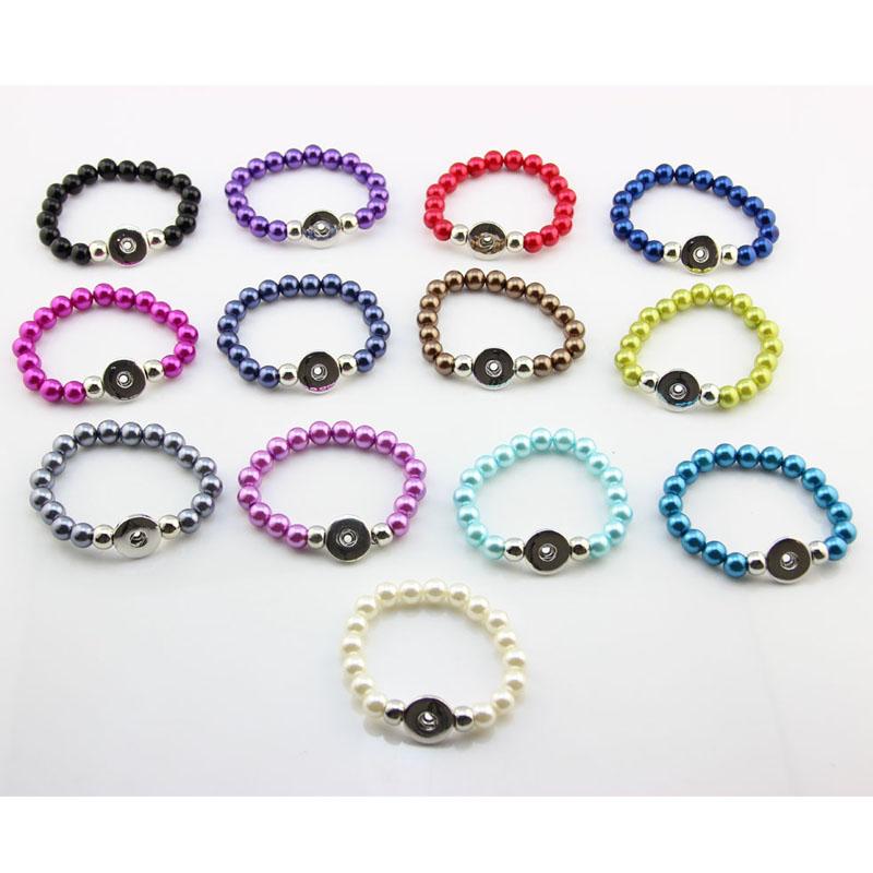 Wholesale Mixed 10pcs Ginger Snaps Bracelet Silver Fake Peral Bracelet Elastic Snap Button Bracelets For Women(China (Mainland))