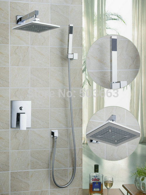 Best abs 8 rainfall shower head bathroom 58801a bathtub chrome basin sink shower set torneira - Shower head for kitchen sink ...