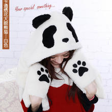 2016 New Brand Hood Panda Winter Glove Hat Scarf Set Woman, Fashion Warm Scarve Knitted Scarves for Women Men Hat and Scarf Set(China (Mainland))