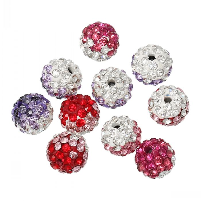 "Polymer Clay Ball Beads Round Pave Mixed Color Rhinestones 10mm(3/8"") Dia,5PCs 8seasons(China (Mainland))"