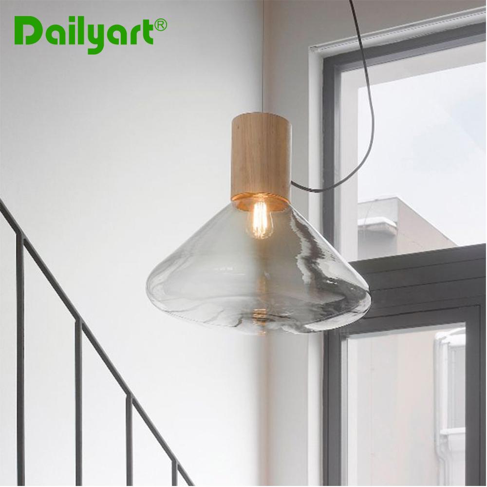 High-end Fashion Wood Glass Triangle Pendant Lamp Restaurant Cafe Shop Creative Droplight White/Smoky Grey/Amber Pendant Light(China (Mainland))