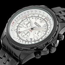 Relojes hombres lujo de la marca correa de acero inoxidable multi función Dial reloj de estilo militar, calendario relojes de cuarzo