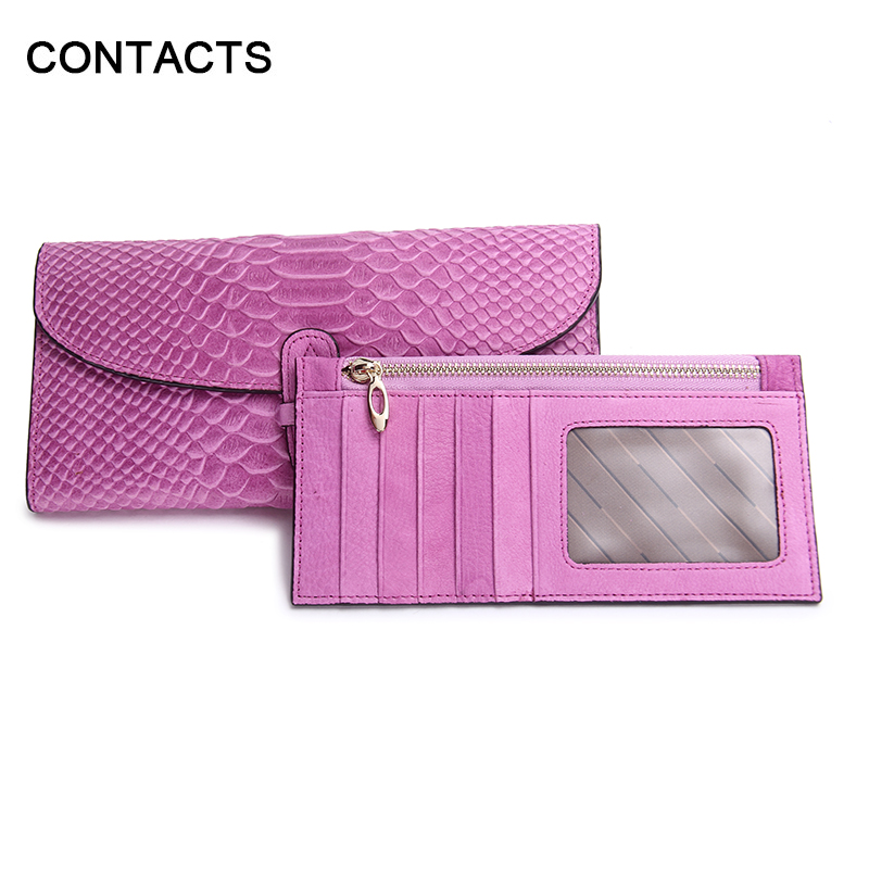 Fashion Women Long Wallet Clutch Genuine Leather Snake Embossed Purse Bag with Removable Card Holder Serpentine Fushina(China (Mainland))
