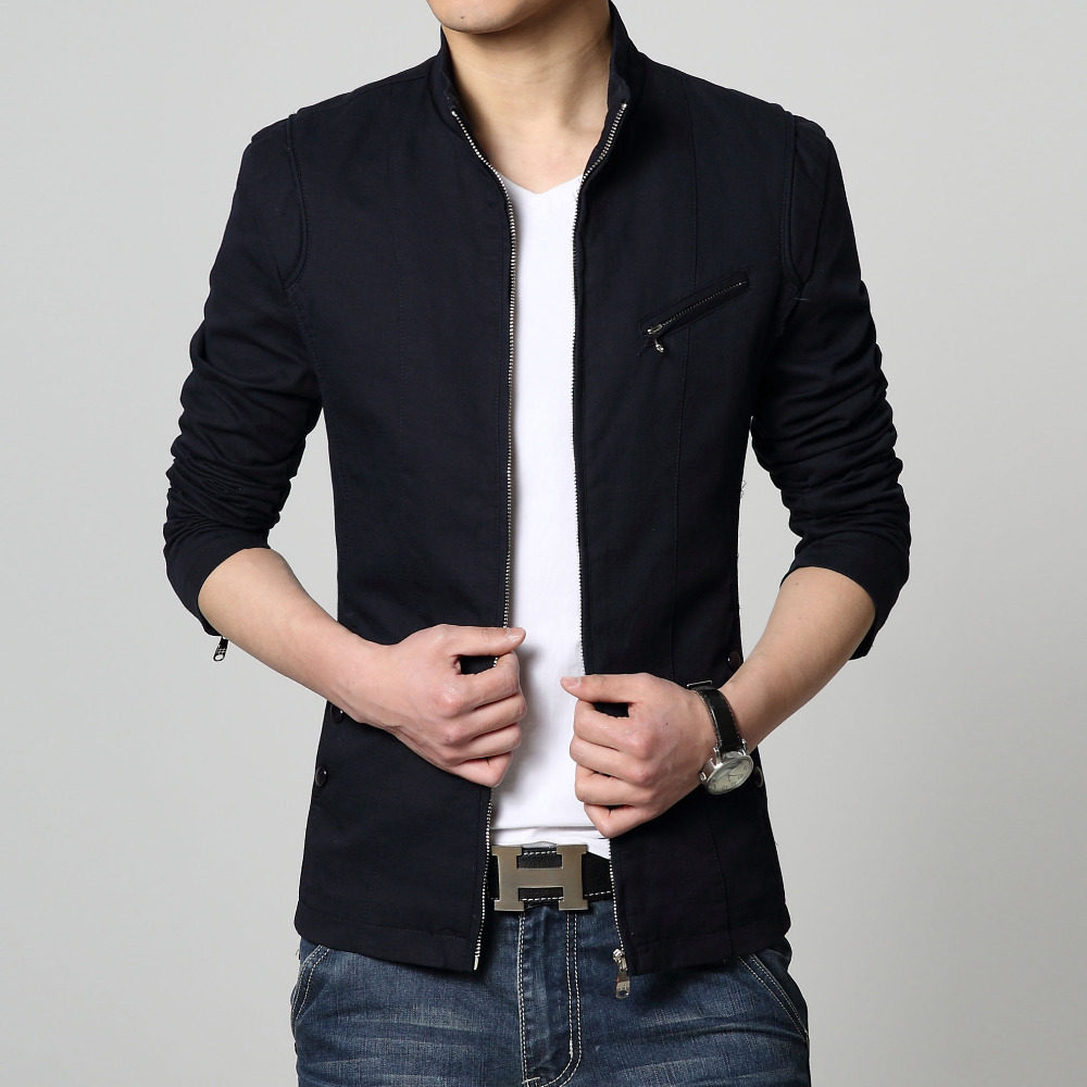 New Design Fashion Jacket Men Stand Collar Solid Slim Fit