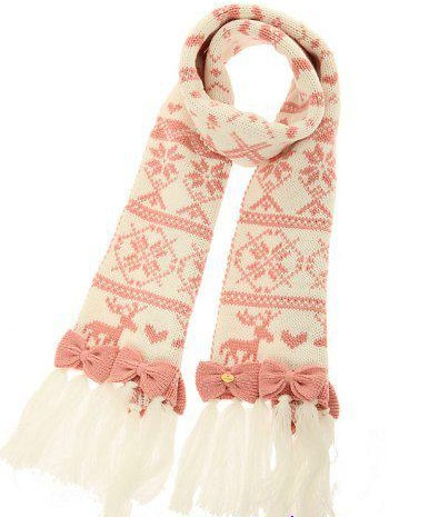 Elk snow bow knitted scarf  women kawaii  winter scarf Одежда и ак�е��уары<br><br><br>Aliexpress