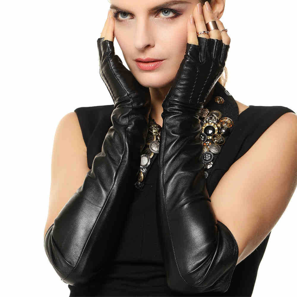 Best womens leather gloves - Fashion Opera 50cm Long Real Genuine Leather Gloves Half Finger Sheepskin Solid Black Women Fingerless Glove
