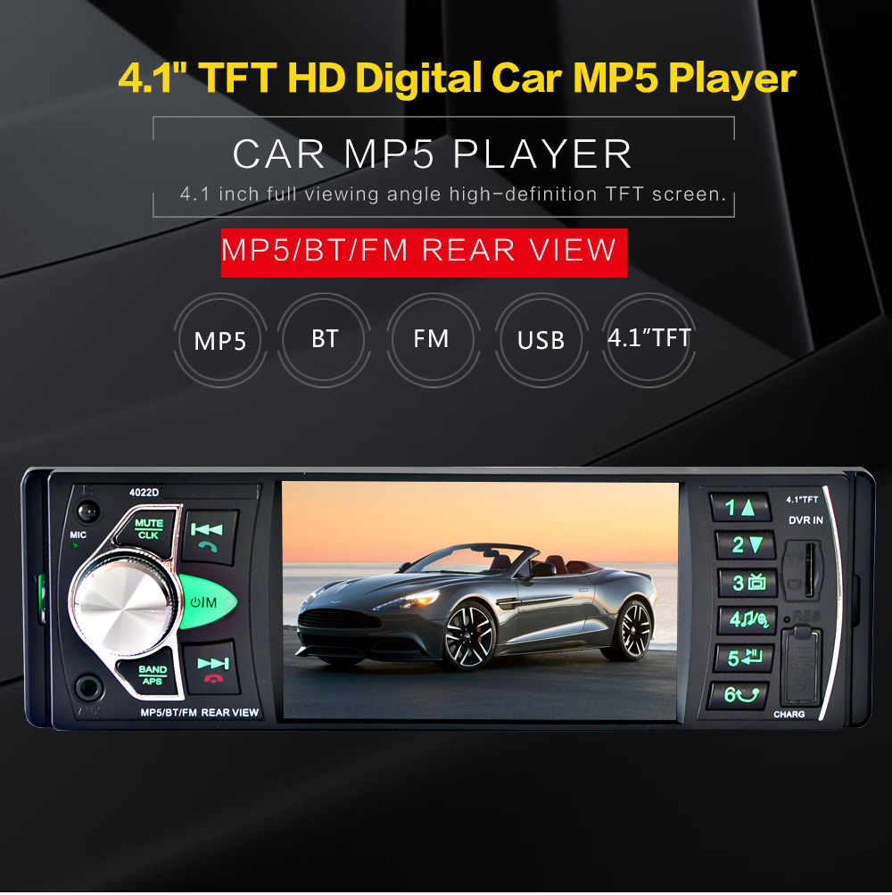 12V Rear View Camera 4.1HD Car Stereo FM Radio MP4 Player /5V Charger /MP3 /MP5 /Audio /Video /USB /SD/AUX/Car Electronics 1 DIN(China (Mainland))
