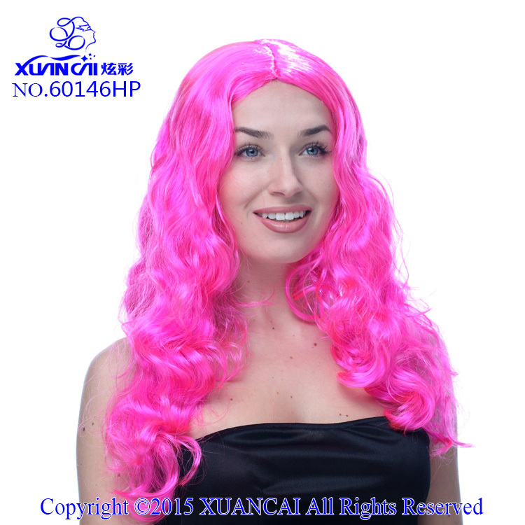 Free Shipping Promotion Cosplay Wigs 100% Polyester Hot Sale Cheap Synthetic Hot Pink Curly Long Wig(China (Mainland))