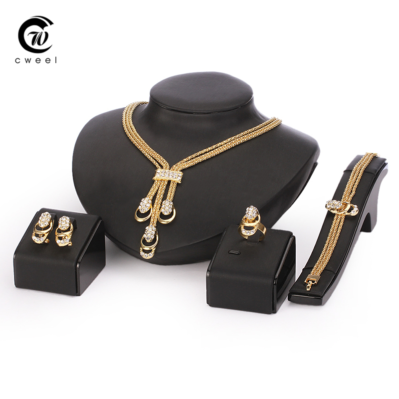 Jewelry Set For Women Gold Color Beads Collar Necklace Earrings Bracelet Fine Rings Sets Party Costume Latest Fashion Trendy