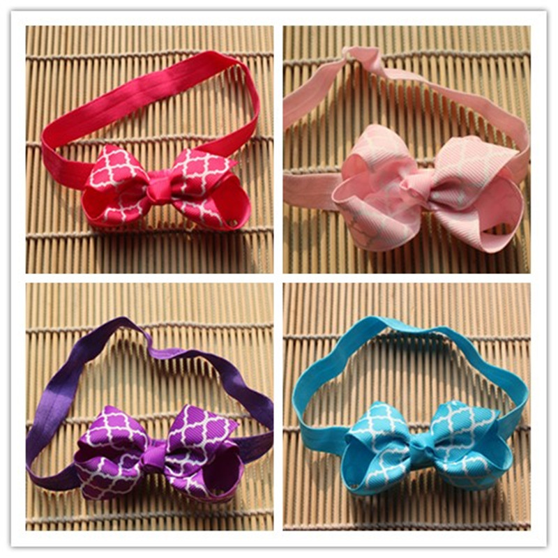 2pcs 3inch kids infant baby girls head wraps hair elastic bands ribbon bows tiara bow headbands satin flower hairband headwrap(China (Mainland))