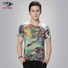 2016 summer new fashion men's short-sleeved T-shirt Dragon 3D map printing large size men tide brand casual T-shirt T-Shirt 5XL