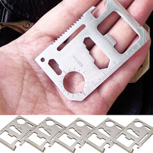 5 X nuevo ventas calientes 11 en 1 bolsillo de la supervivencia tarjeta ejército acero herramienta multifunciones 17X