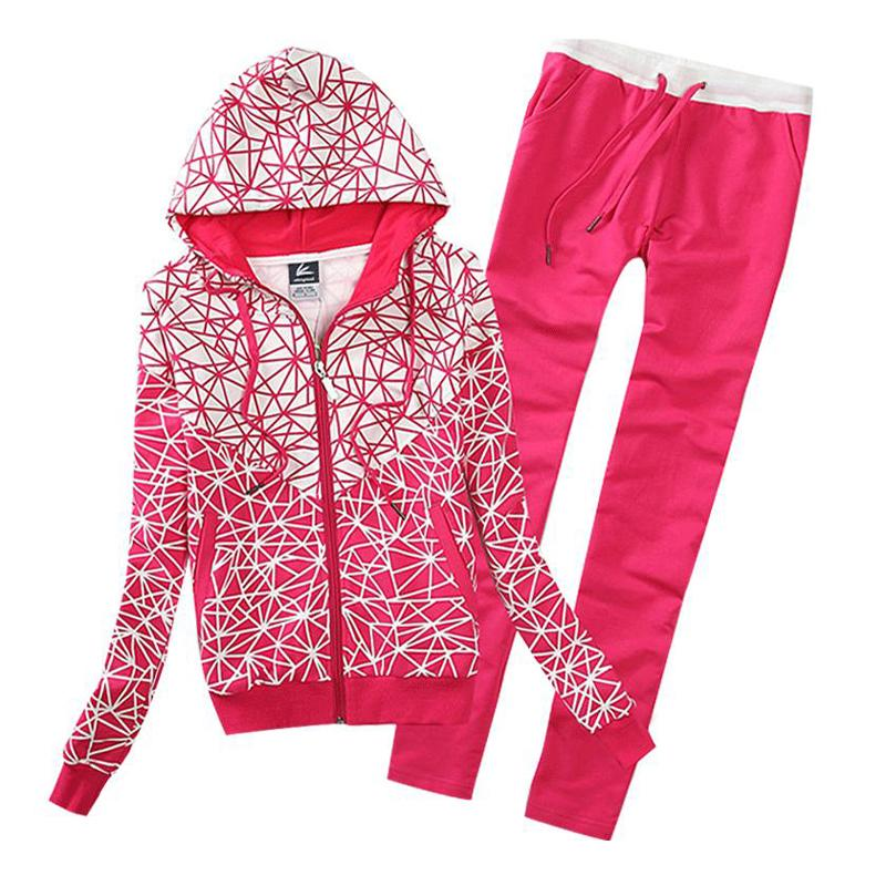 Hot 2 Pieces Set Female Tracksuit New Design 2016 Spring Women's Zipper Hoodies+Pant Sport Suits Moleton Feminino WH-026