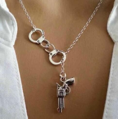 Silver Gold Tone Handcuff Gun Pendant Necklace Bff Charms Gift Jewelry New