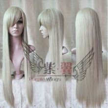 Long Binbougami ga! Blond Anime Cosplay Full Wig New Platinum-Blonde Party Straight 80cm - something in China store