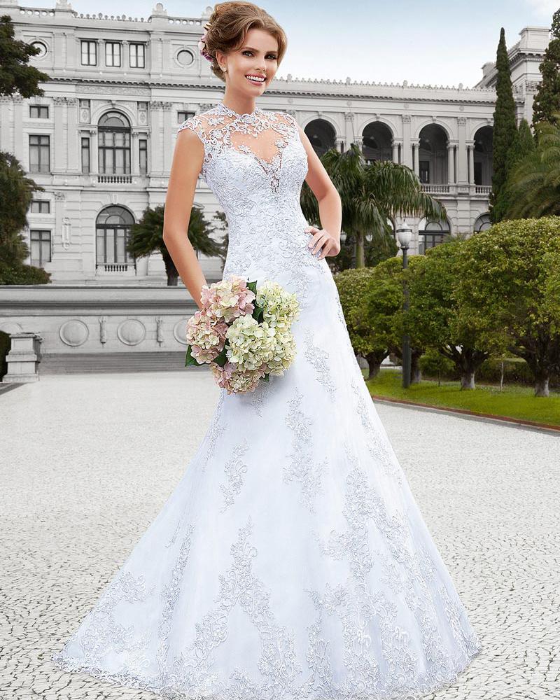 Vestido de noiva vintage high neck lace wedding dress 2015 for Country style lace wedding dress