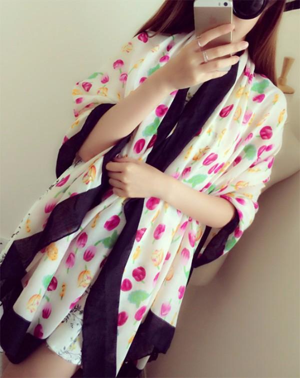 Sping autumn winter lady thin scarf summer fresh fashion lady tulip scarf twill cotton printing oversized shawl scarf
