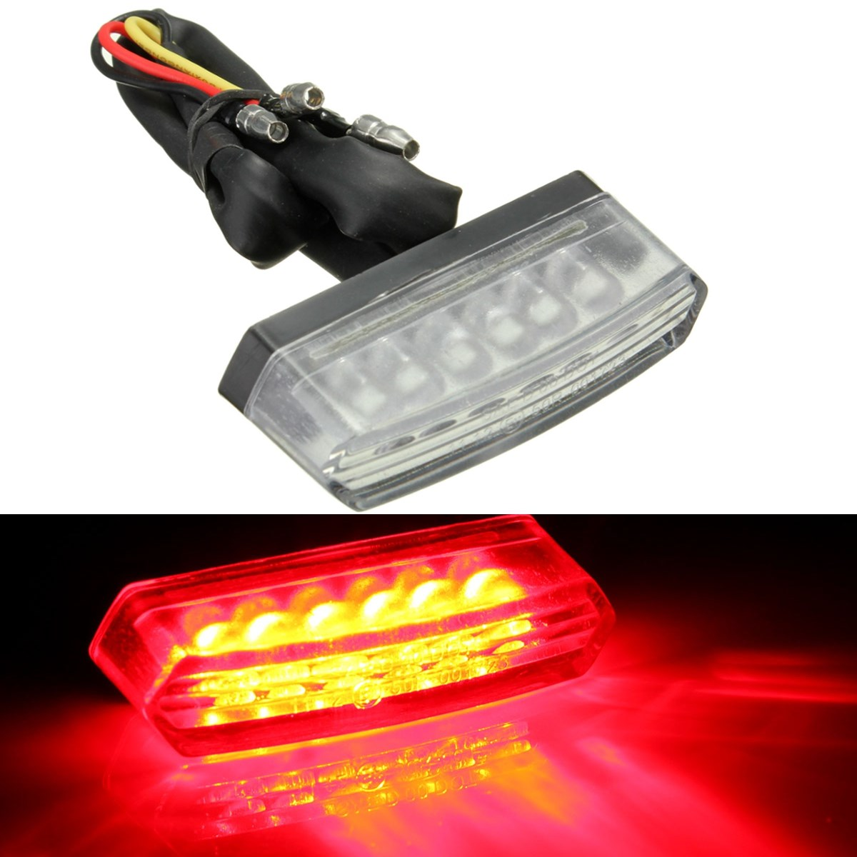 Universal 6 LED Motorcycle 12V Rear Number License Plate Light Red Lamp E mark E11 SAE