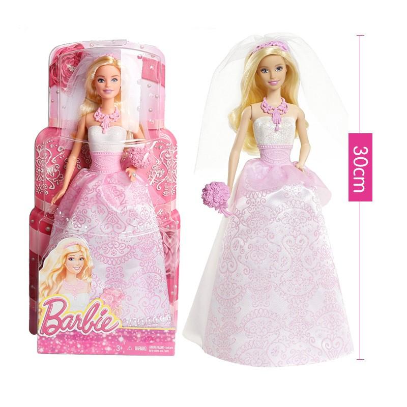 Real Barbie Doll Toys Pink Bride Barbie Garments Wedding ceremony Necklace Barbie Equipment Academic Toy Birthday Reward For Ladies