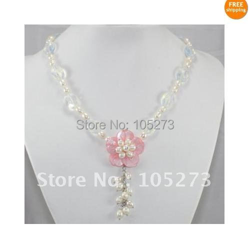 Charming! New Style White Color Genuine Freshwater Pearl &amp; crystal Pink Shell Flower Necklace AA 4-15MM New Free Shipping<br><br>Aliexpress