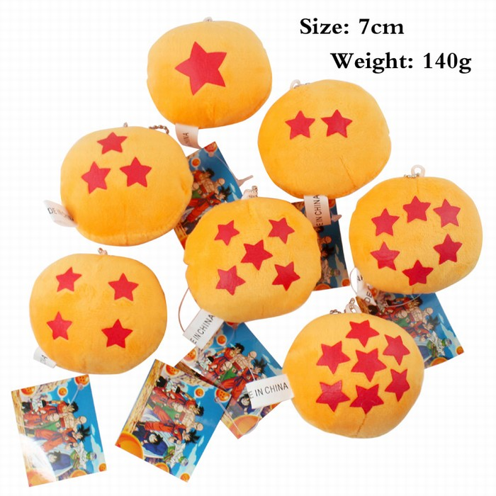 2016 NEW! One set 7 pcs Dragon Ball Z potable Mini One to Seven Star Ball Plush doll toy pendant/Must have /best gift(China (Mainland))
