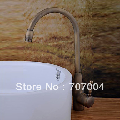 Euro Style Antique Brass Kitchen &Bathroom Tall Countertop Art Basin Sink Faucet Mixer Tap Single Handle(China (Mainland))