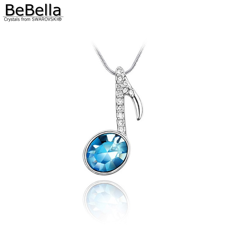 Birthday gifts! Crystal music notation theme pendant necklace Made with SWAROVSKI ELEMENTS for Mother's Day gift(China (Mainland))