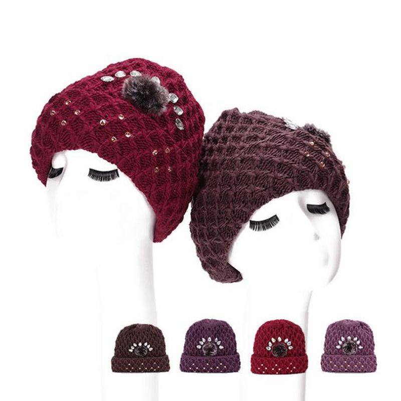 Fashion Ladies Hat Knit Lady Winter Beanies with Sticky Drill and Velvet Z-1940()
