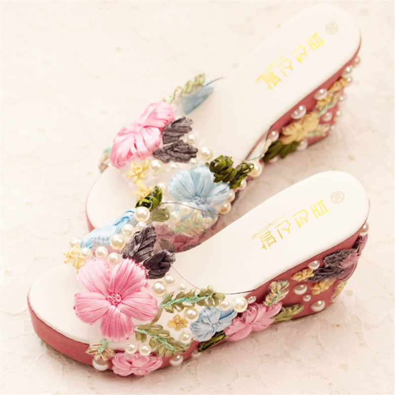 New summer appliques flowers wedding shoes handmade pearls flip flops wedges heel slides pink - Appliques flos ...