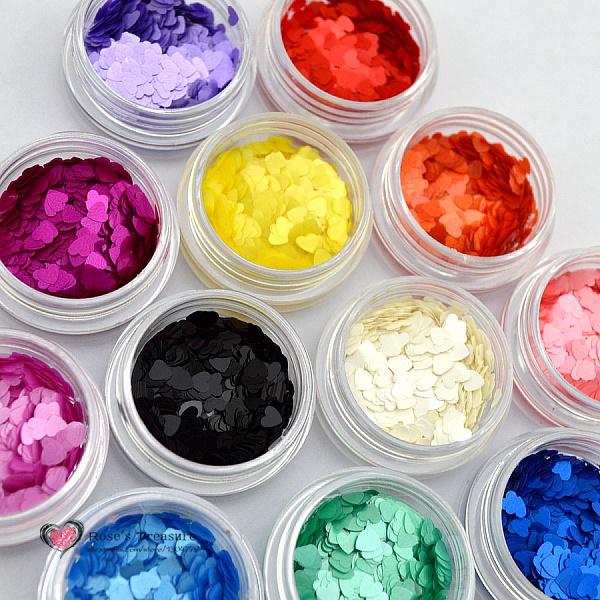 2015 NEW Beauty 12 Color Acrylic Nail Art Glitter Sequins Powder Set For Nail Tips Decoration Tool Heart Shpae(China (Mainland))