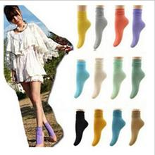 2pairs=1 lot cotton candy colors multicolor vintage fashion cute mid tube fashion top quality women socks Free Shipping MF565454