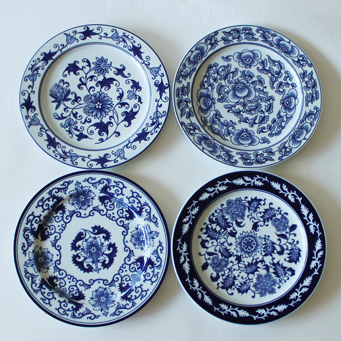 Chinese Antique Porcelain Blue And White Plates For Hanging Plate Craft As Wall Decor(China (Mainland))
