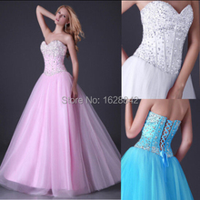 Crystal evening dress pink blue white long dresses vestidos de fiesta robe soiree formal gowns - Avivi Girl store