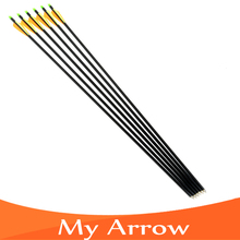 Free shipping 6pcs/lot Fiberglass Arrow for Shoot Archery Bow Outdoor Sport  with sliver tips/arrowhead For Hunting Bow